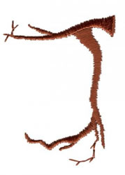 Twig J embroidery design