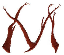 Twig M embroidery design