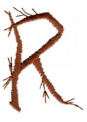 Twig R embroidery design