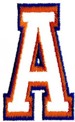 Two Color Athletic A embroidery design