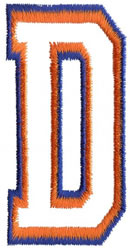Two Color Athletic D embroidery design