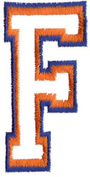 Two Color Athletic F embroidery design