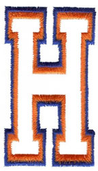 Two Color Athletic H embroidery design