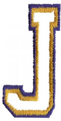 Two Color Athletic J embroidery design