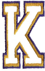 Two Color Athletic K embroidery design