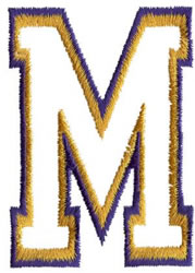 Two Color Athletic M embroidery design