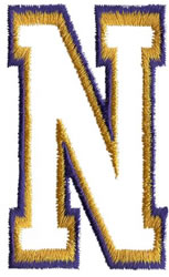 Two Color Athletic N embroidery design