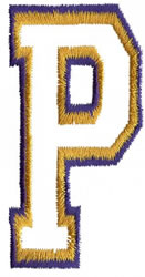 Two Color Athletic P embroidery design