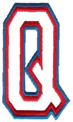 Two Color Athletic Q embroidery design
