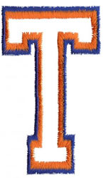 Two Color Athletic T embroidery design