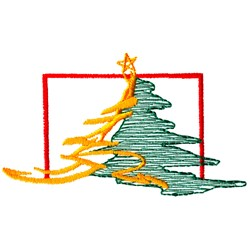Boxed Christmas Tree embroidery design