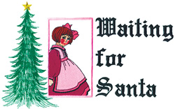 Waiting for Santa embroidery design
