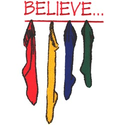BELIEVE Stockings embroidery design