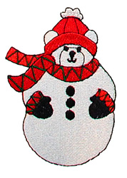 Snowman bear embroidery design