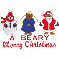 Beary Merry Christmas embroidery design