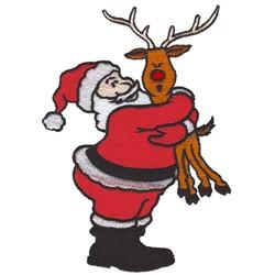Santa Hugging Reindeer embroidery design