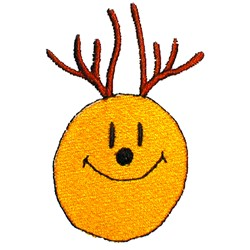 Smiley Face Reindeer embroidery design