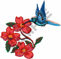 FLOWERS & HUMMINGBIRD embroidery design