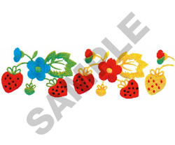 FLORAL STRAWBERRY BORDER embroidery design