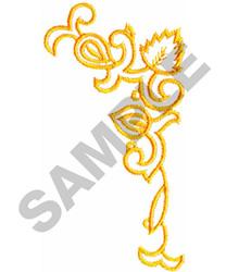 FLORAL OUTLINE CORNER embroidery design