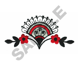 FAN WITH FLORAL DESIGN embroidery design