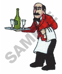 CHEF WITH  GLASSES AND A BOTTLE embroidery design