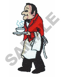 CHEF WITH A TRAY AND DISH embroidery design