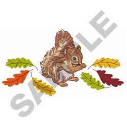 SQUIRREL AND LEAVES embroidery design