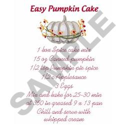 PUMPKIN CAKE RECIPE embroidery design