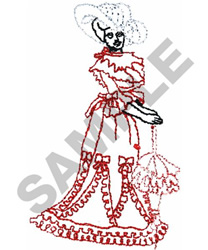 LADY IN PARASOL embroidery design