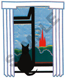 KITTY IN THE WINDOW APPLIQUE embroidery design