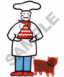 THE CHEF & HIS CAT APPLIQUE embroidery design