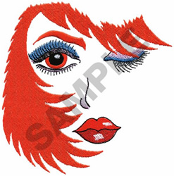 WOMANS FACE WINKING embroidery design