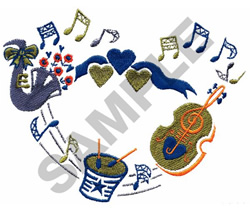 INSTRUMENTS W/HEARTS & RIBBON embroidery design