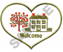 WELCOME HOME HEART embroidery design