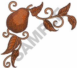 PEAR ON A VINE embroidery design