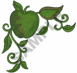 APPLE ON A VINE embroidery design