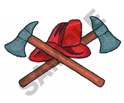 FIREFIGHTER HAT AND AXE embroidery design