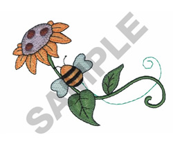 BEE WITH FLOWER embroidery design