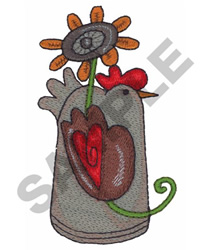 CHICKEN WITH FLOWER embroidery design