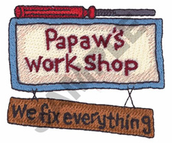 PAPAWS WORKSHOP embroidery design