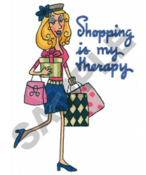 SHOPPING IS MY THERAPY embroidery design