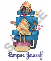 PAMPER YOURSELF embroidery design