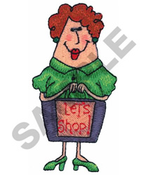 LADY SHOPPER embroidery design