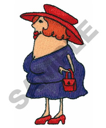 LADY IN A PURPLE SUIT embroidery design