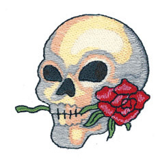 SKULL WITH ROSE embroidery design