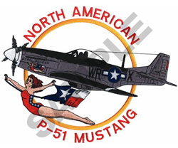 NORTH AMERICAN P-51 MUSTANG embroidery design