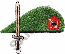 GREEN BERET AND SWORD embroidery design