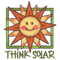 THINK SOLAR embroidery design