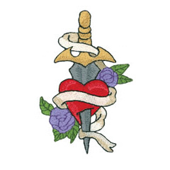 SWORD THRU HEART embroidery design